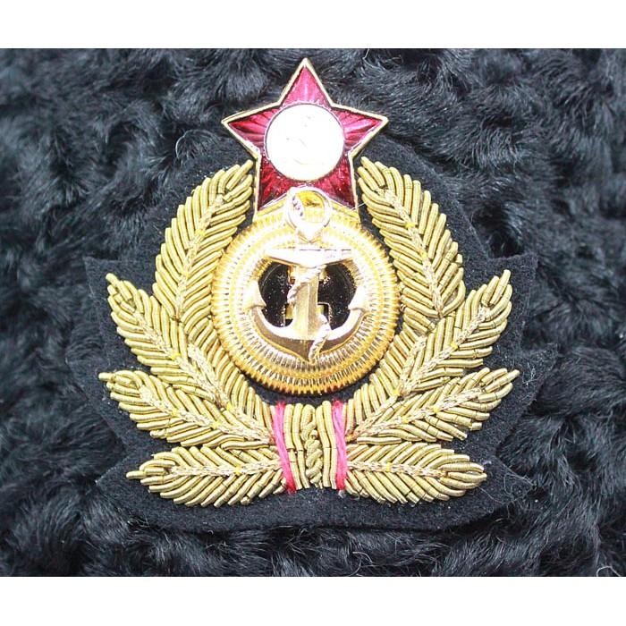 Soviet Russian Naval Admiral winter original black Astrakhan fur and leather Ushanka hat with handmade golden thread Cocarde