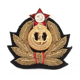 Soviet Russian handmade Admiral's Naval hat badge Cocarde