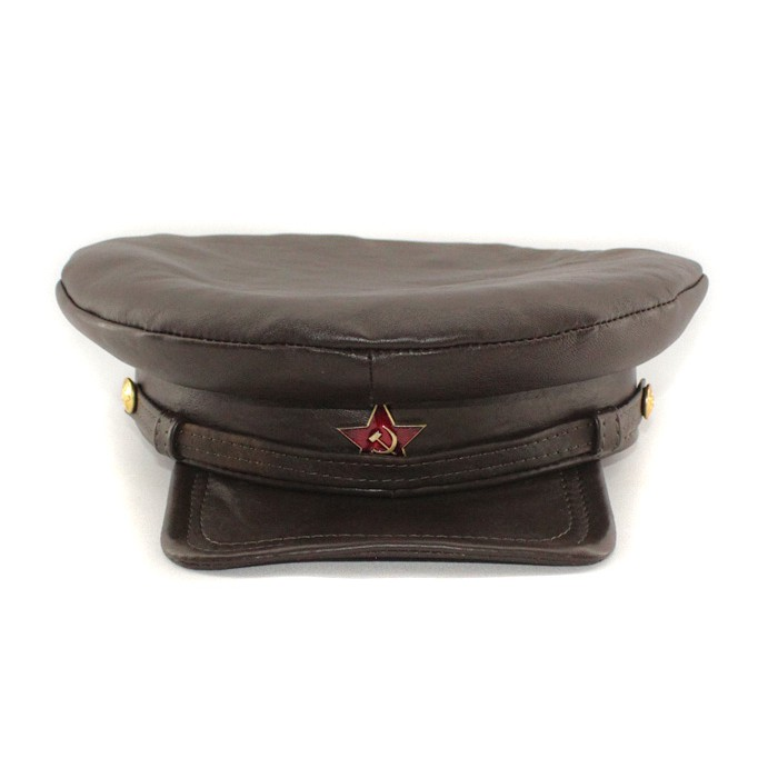 "Exclusive soviet natural leather russian NKVD type brown visor hat called ""Komissarka'"