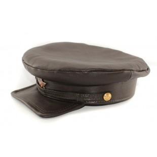 "Exclusive soviet natural leather russian NKVD type brown visor hat called ""Komissarka'"