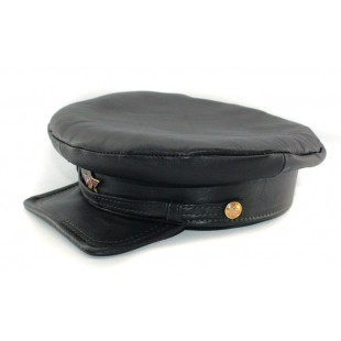 "Exclusive soviet natural leather russian NKVD type black visor hat called ""Komissarka'"