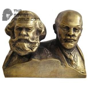 Russian bronze Soviet bust MARX & LENIN
