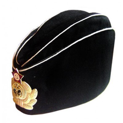 Soviet Russian Naval Officer's black summer hat Pilotka