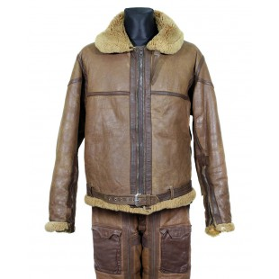 RARE UK Royal AIR Force WW2 Uniform 1941 year Vintage Irvin Flying warm Pilot Bomber Sheepskin brown Leather Original winter Jacket & Pants