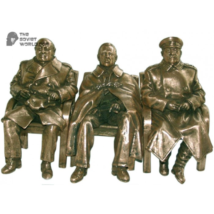 """The Big Three"" Conference bronze of Roosevelt, Churchill & Stalin"