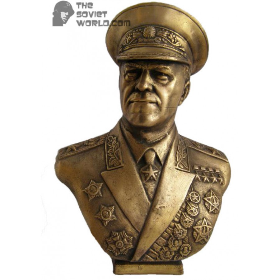 Russian Big bronze Soviet bust of Marshall Zhukov
