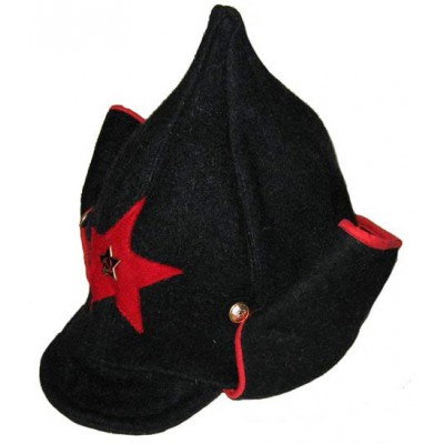 Soviet RKKA infantry russian Red Army woolen winter black hat BUDENOVKA with earfaps