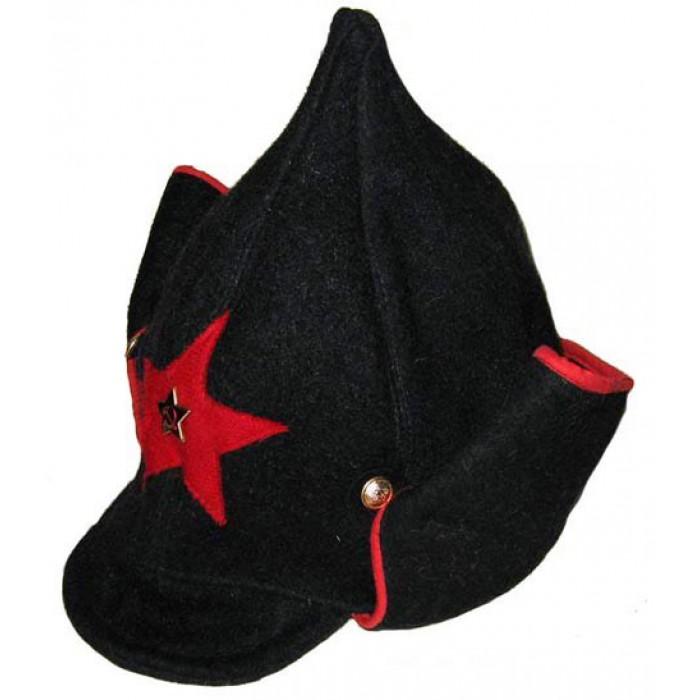 Soviet RKKA infantry russian Red Army woolen winter black hat BUDENOVKA with earfaps