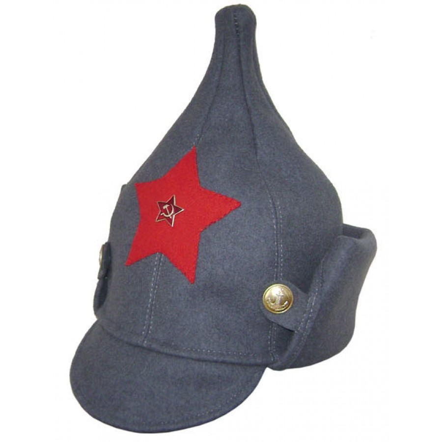 Soviet RKKA infantry russian Red Army woolen winter hat BUDENOVKA gray with earflaps