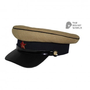 Soviet Russian military Kavaleria Officer's khaki and dark blue visor RKKA hat WWII