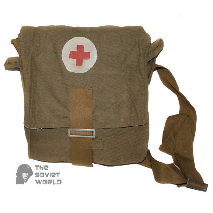 Red army Soviet military Vintage USSR First Aid Medical WW2 Red Cross Bag