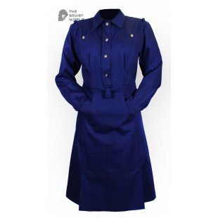 Soviet Army military uniform USSR WW2 female officer cotton navy blue Dress