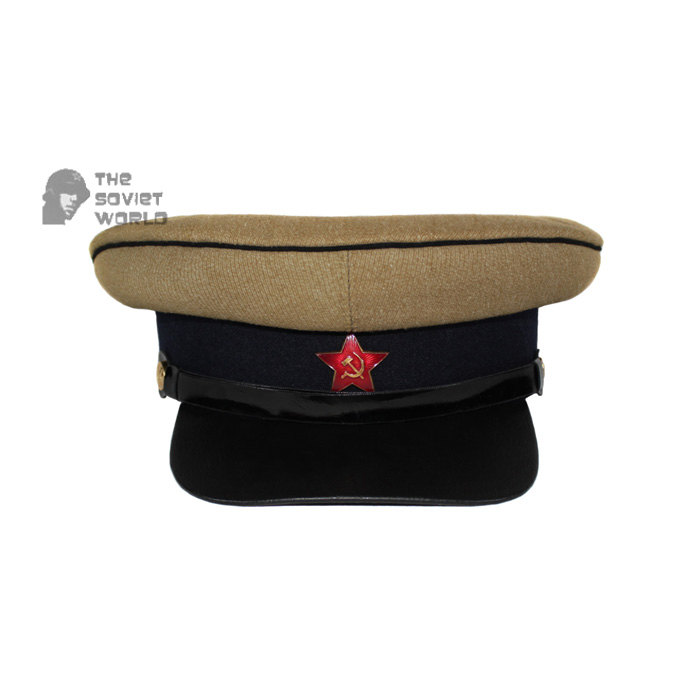 Soviet Russian military Kavaleria Officer's khaki and dark blue visor RKKA hat WWII