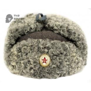 Vintage Russian Army Soviet military Astakhan fur earflaps General's Ushanka hat