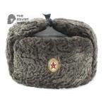 Vintage Russian Army Soviet original military Astakhan fur earflaps General's hat Ushanka