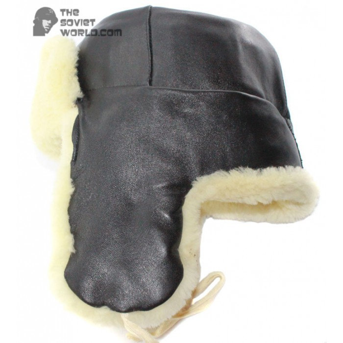 Soviet Russian White Fur Ushanka military Officer RKKA earflaps USSR hat