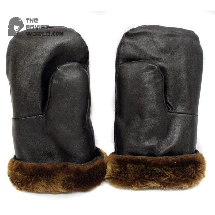 Military Officer's Leather and natural Fur Soviet extremely warm winter black Gloves