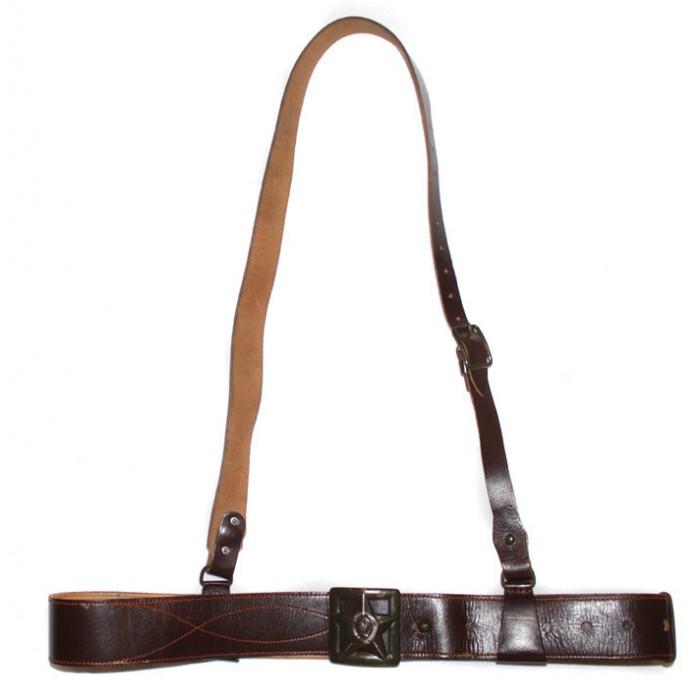 RARE USSR Army WW2 GENUINE leather RKKA General's military M43 original brown Portupeya Belt