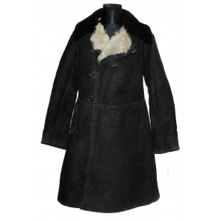 USSR Army winter General suede Leather Overcoat