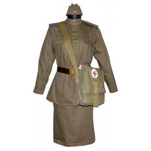 Red Army WW2 Soviet Nurce woman military khaki uniform M43 Gimnasterka & Skirt with Sanitary Bag and Pilotka hat