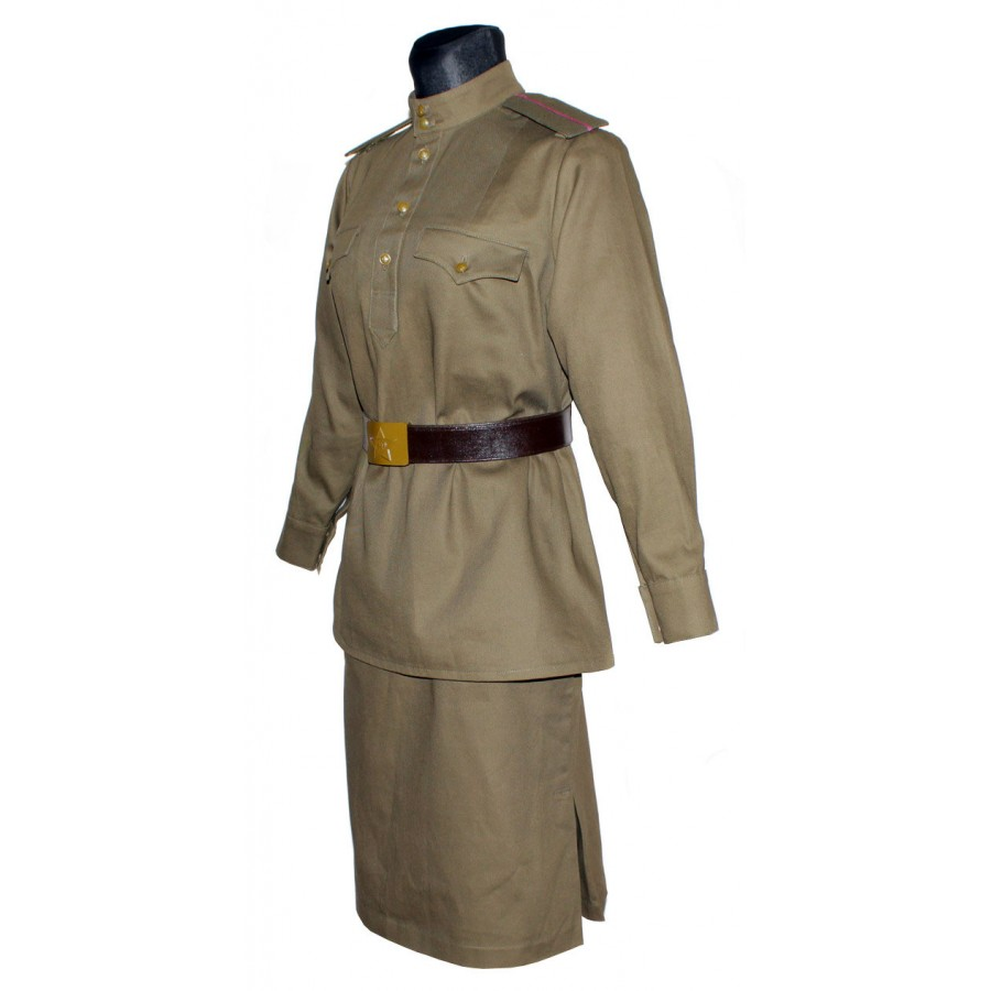Red Army WW2 Soviet Nurce woman military khaki uniform M43 Gimnasterka & Skirt with Sanitary Bag and Pilotka hat