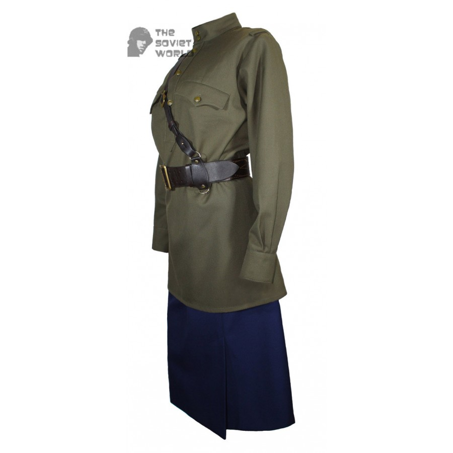 Red Army WW2 Soviet woman NKVD military USSR uniform M43 gimnasterka with shoulder boards & skirt