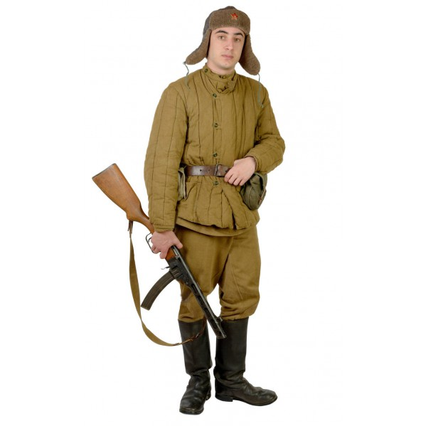 USSR red Army soldier's warm winter military quilted khaki uniform Telogreyka with Pants